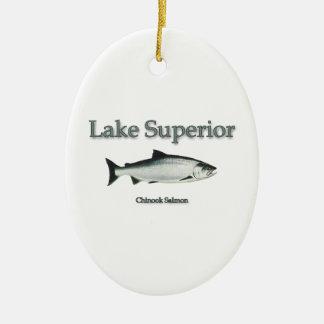 Salmones del lago Superior Chinook (rey) Adorno Ovalado De Cerámica