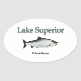 Salmones del lago Superior Chinook (rey) Pegatina Ovalada