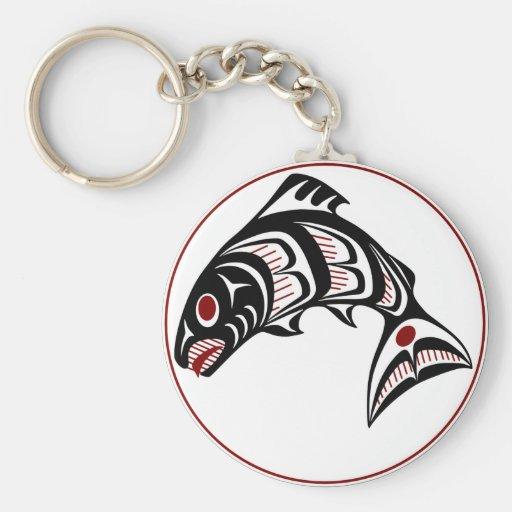 Salmones del noroeste del arte del Haida de la Cos Llavero Redondo Tipo Pin