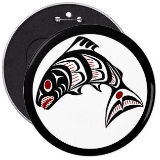 Salmones del noroeste del arte del Haida de la Cos Pin Redondo De 6 Pulgadas