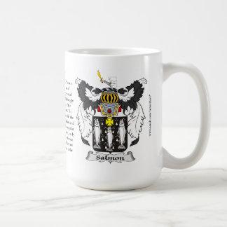 Salmones, el origen, el significado y el escudo taza de café