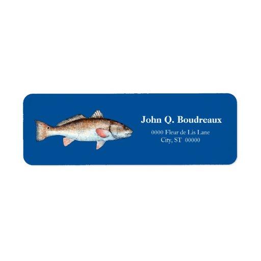 Salmones en azul intrépido etiqueta de remite