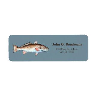Salmones en gris azul etiquetas de remite