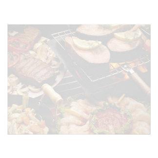 Salmones, filetes de carne de vaca y cóctel asados membrete personalizado