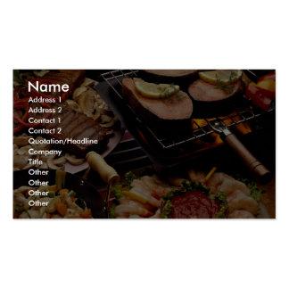 Salmones, filetes de carne de vaca y cóctel asados plantillas de tarjetas de visita