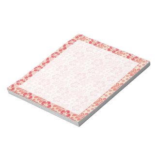 Salmones lindos y estampado de flores rosado coral bloc de notas
