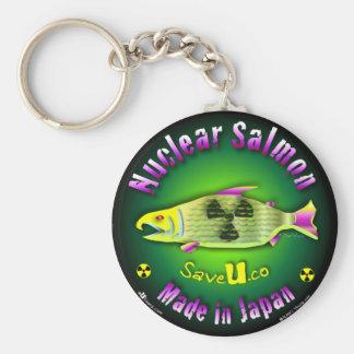 Salmones nucleares llavero redondo tipo pin