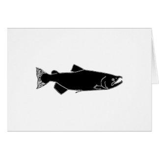 Salmones pacíficos (icono negro) tarjeta de felicitación