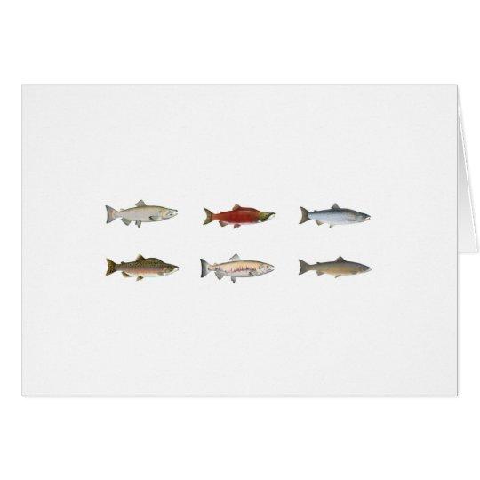 Salmones salvajes tarjeta de felicitación