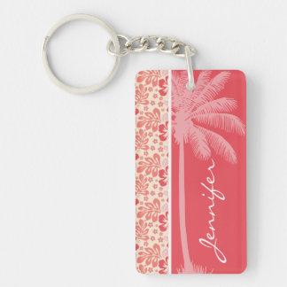 Salmones tropicales y estampado de flores rosado llavero rectangular acrílico a doble cara