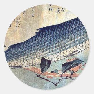Salmonete rayado Bora por Ando, Hiroshige Ukiyoe Pegatina Redonda