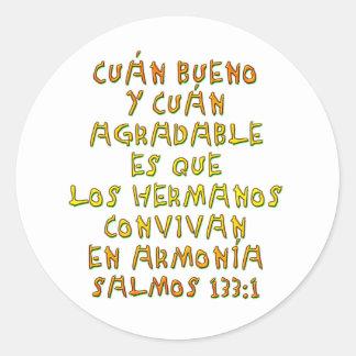 Salmos 133:1 classic round sticker