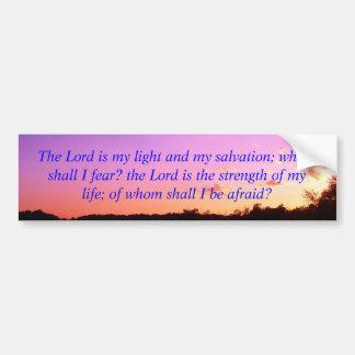 Salmos 27 de la salida del sol de la puesta del so etiqueta de parachoque
