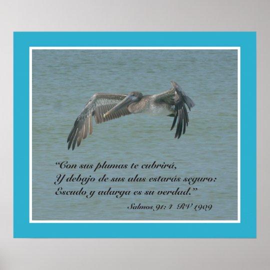 Salmos 91:4 con Pelicano Volando (Cartel) Poster