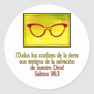 Salmos 98:3 classic round sticker