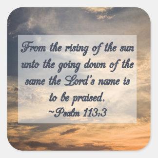 Salmos cristianos de la escritura de la inspiració calcomanías cuadradas