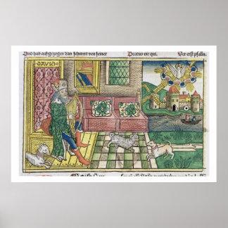 Salmos: frontispiece que muestra a rey David que j Impresiones