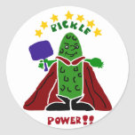 Salmuera divertida del superhéroe de Pickleball Pegatina Redonda