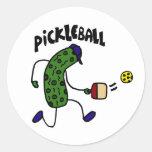Salmuera divertida que juega Pickleball Pegatina Redonda