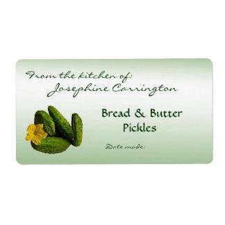 Salmueras de pan y de mantequilla que conservan et etiqueta de envío