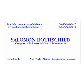 SALOMON ROTHSCHILD JUNE 20 BUSINESS CARD