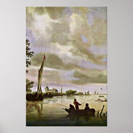 Salomon van Ruysdael - paisaje del río Póster