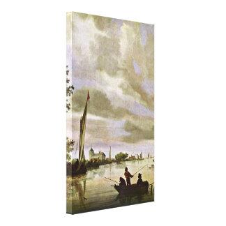 Salomon van Ruysdael - river landscape Canvas Print