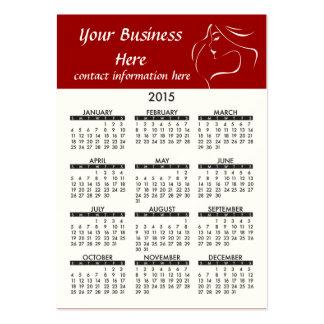 Salón 2015 de pelo del jade del calendario de la tarjetas de visita grandes