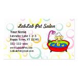 Salón amarillo divertido del mascota del dibujo an tarjeta de visita