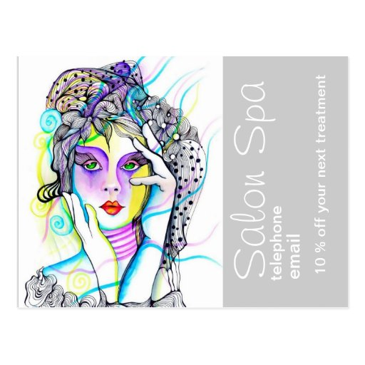 Salon and spa advertising postcard zazzle for X salon mulund rate card