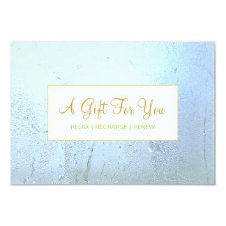 Salon and Spa Aqua Blue Glass Gift Certificate Personalized Invitation