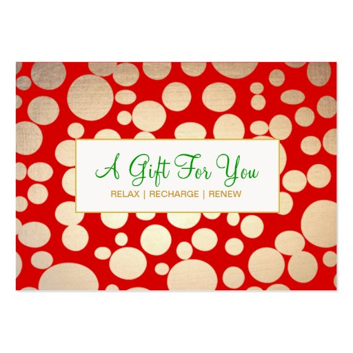 Salon and Spa Faux Gold Holiday Gift Certificate Business Cards (front side)