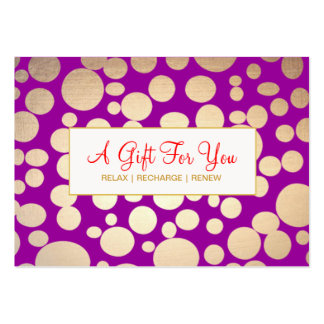 Salon and Spa Faux Gold Purple Gift Certificate Large Business Card