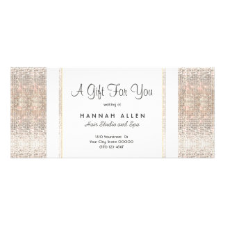 Salon and Spa Silver Sequins Gift Certificate Customized Rack Card