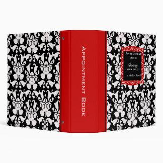 Salon appointment book red black damask binder