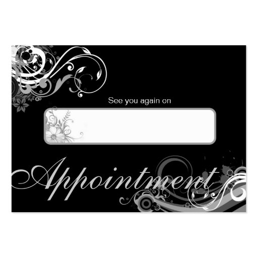 Salon Appointment Card Spa Floral Swirls Black Business Card