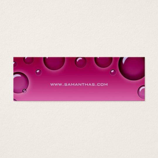 Salon Bookmark Spa bubbles pink Mini Business Card