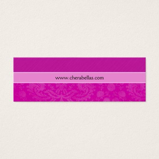 Salon Bookmark Spa damask floral flower pink Mini Business Card