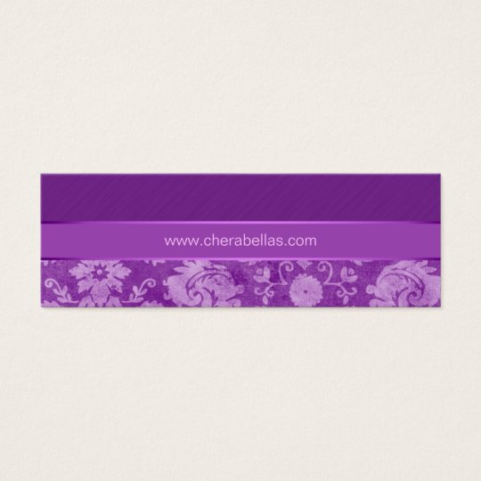 Salon Bookmark Spa damask floral flower purple Mini Business Card