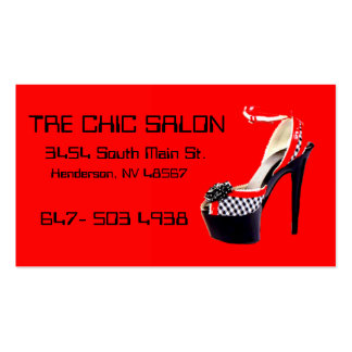 SALON BUSINESS CARD HOTSTUFF FASHION SHOES RED