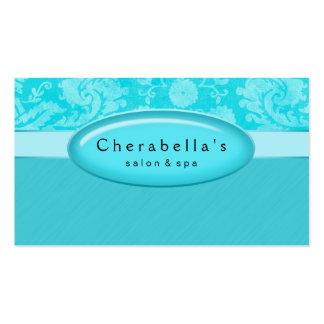 Salon Business Card Spa Blue Damask Oval