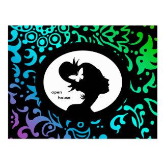 Salon Card Butterfly Woman GBP Silhouette Postcards
