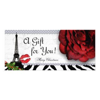 Salon Christmas Gift Certificate Eiffel Tower Rose Custom Rack Card