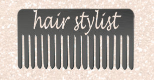 Hair stylist business card holders cases zazzle salon comb handwriting typography hair stylist business card holder colourmoves Images