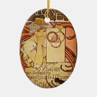 Salón de 100 una mujer adorno navideño ovalado de cerámica
