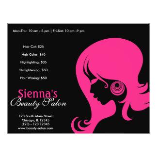 Salón de belleza (de color rosa oscuro) flyer personalizado