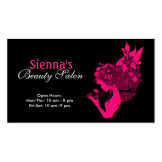 Salón de belleza (de color rosa oscuro) plantilla de tarjeta de negocio