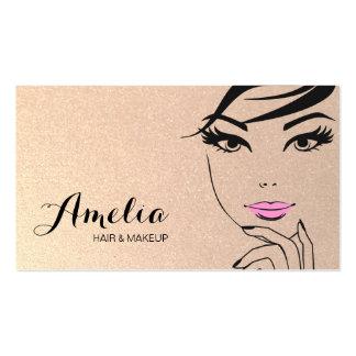 Salón de belleza de la cara de la mujer y oro del tarjetas de visita