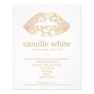 """Salón de belleza de los labios del oro del artista folleto 4.5"""" x 5.6"""""""