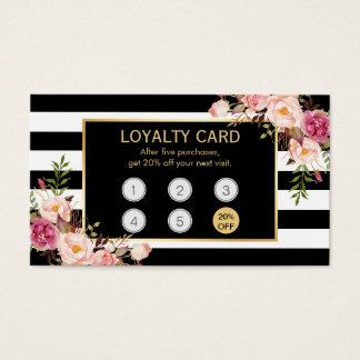 Salón de belleza floral del oro del vintage de la tarjetas de visita